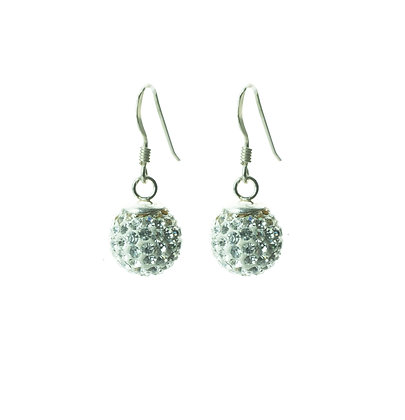 Sterling Silver Diamond Simulant Crystal Earrings - Medium Dangle