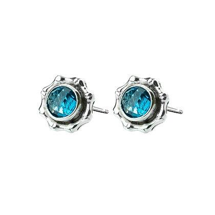 Sterling Silver Round Blue Topaz Earrings- 7 MM