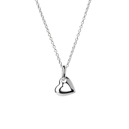 Sterling Silver Tiny Double Heart Pendant