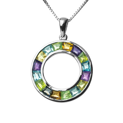 Sterling Silver Multicolored Gemstones Pendant - Large