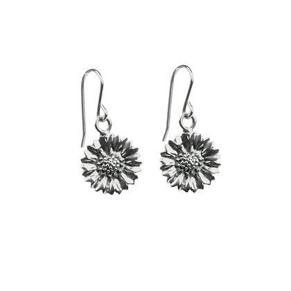 Sterling Silver Sunflower Earrings - Oxidized