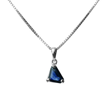 Sterling Silver Natural Blue Sapphire Pendant