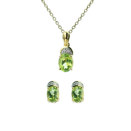Sterling Silver Peridot with Diamond Earrings and Pendant