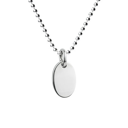 Sterling Silver Oval Tag Pendant - Large