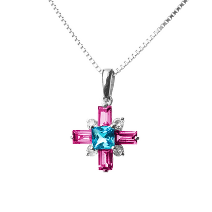 Sterling Silver Pink Tourmaline, Swiss Blue Topaz and Diamond Simulant Pendant