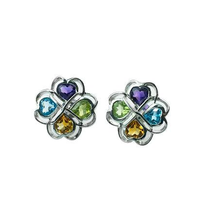 Sterling Silver Multicolored Clover Earrings