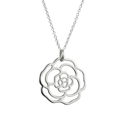 Sterling Silver Rose Pendant -Medium