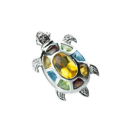 Sterling Silver Multicolored Gemstones Turtle Brooch