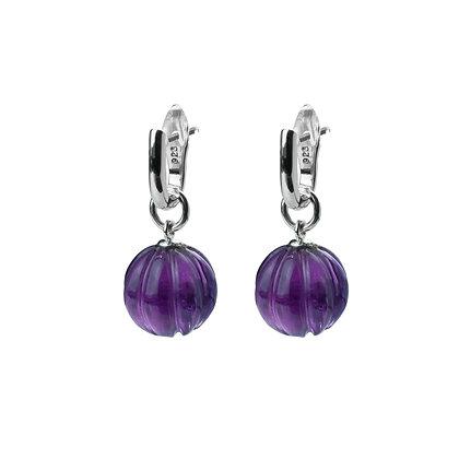 Sterling Silver Detachable Amethyst Dangle Earrings