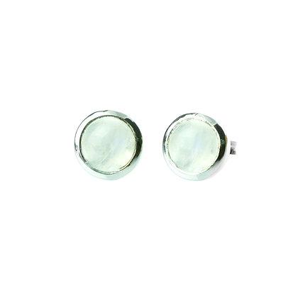 Sterling Silver Bezel Set Cabochon Rainbow Moonstone Earrings