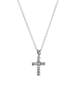 Sterling Silver Diamond Simulants Cross Pendant