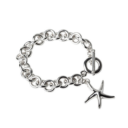 Sterling Silver Round Rolo Bracelet with Starfish