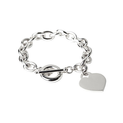 Sterling Silver Oval Bracelet with Heart Tag