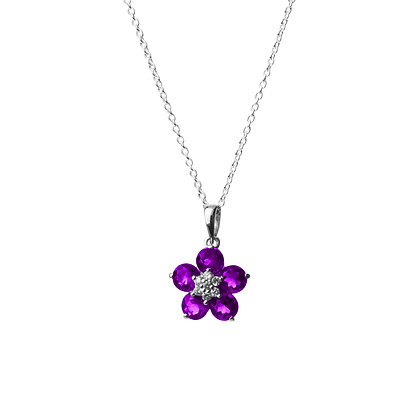 Sterling Silver Amethyst with Diamond Simulant Pendant