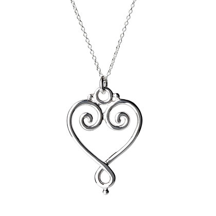 Sterling Silver Heart Pendant -Large