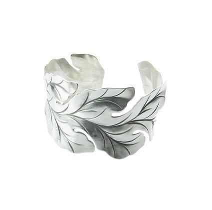 Sterling Silver Leaf Bangle
