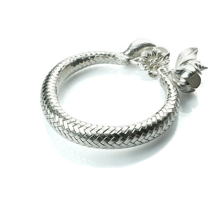 Sterling Silver Woven Bangle with Charms - Thai Northern Style
