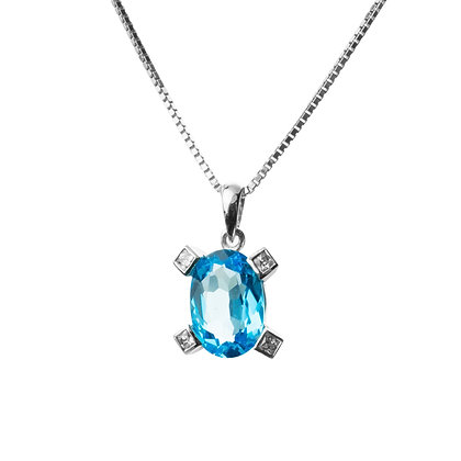 Sterling Silver Swiss Blue Topaz with Diamond Simulant Pendant