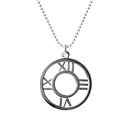 Sterling Silver Clock Pendant - Large