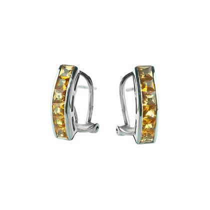 Sterling Silver Orange Sapphire Hoop Earrings