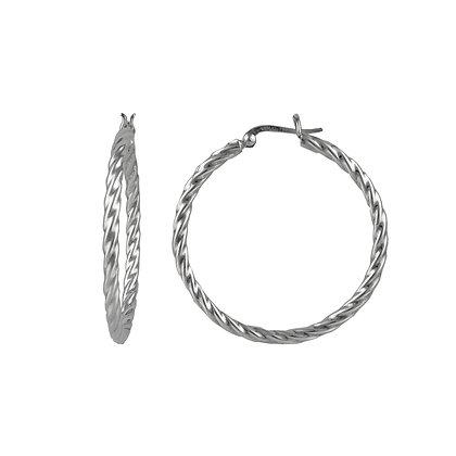 Sterling Silver Twisted Hoop Earrings - Large