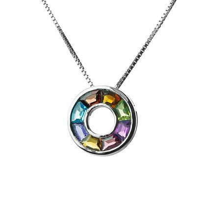 Sterling Silver Multicolored Gemstones Pendant - Small