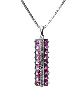 Sterling Silver Pink Tourmaline and Diamond Simulant Pendant