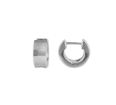 Sterling Silver Wide Huggie Earring - Concave