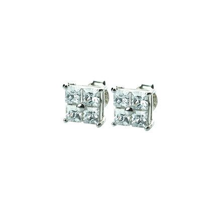 Sterling Silver Square Earrings with Diamond Simulant CZ