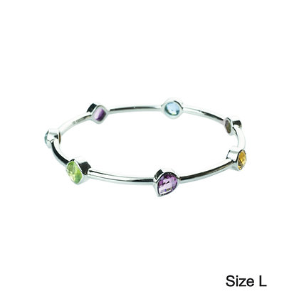 Sterling Silver Multicolored Gemstones Bangle