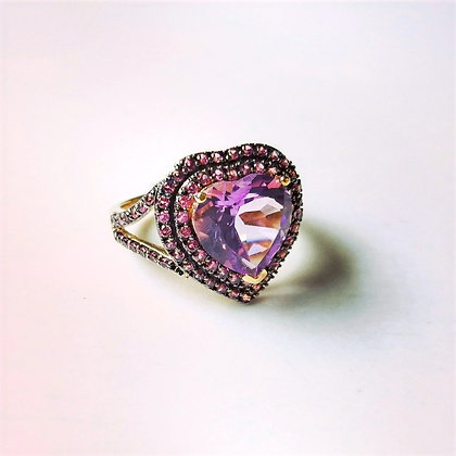 Amethyst Ring Heart-Shaped in Sterling Silver