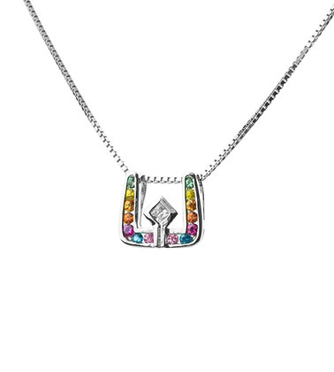 Sterling Silver Multicolored Sapphires Pendant