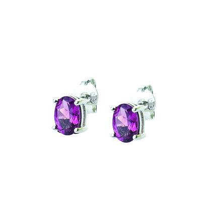 Sterling Silver Oval Amethyst Earrings- 7x5 MM