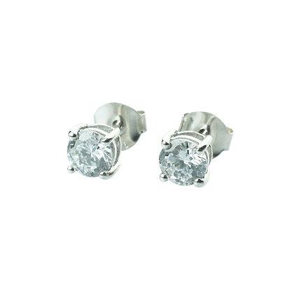 Sterling Silver Diamond Simulant CZ Earrings - 5 MM