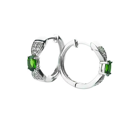Sterling Silver Chrome Diopside Hoop Earrings