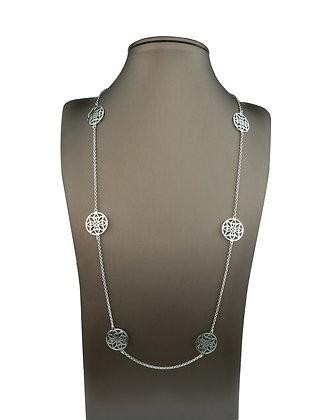 Sterling Silver Mandala Station Necklace