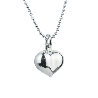 Sterling Silver Puffed Heart Pendant - Small