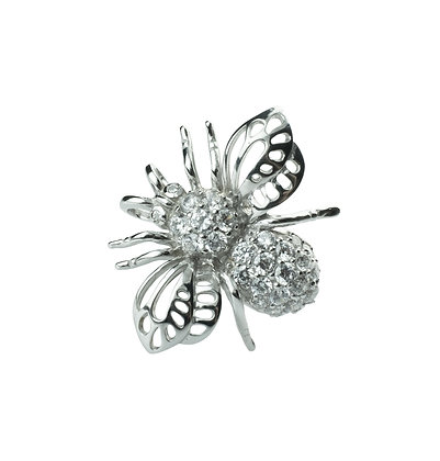 Sterling Silver Bee Pendant & Brooch with Diamond Simulant (Cubic Zirconia)