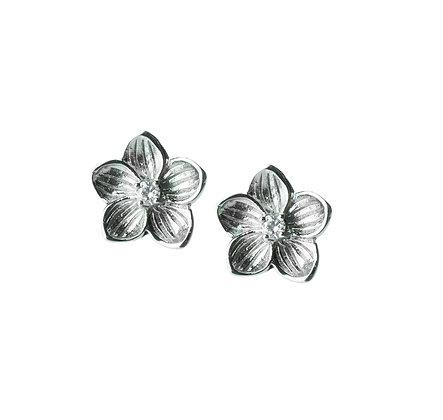 Sterling Silver Diamond Simulant Flower Earrings