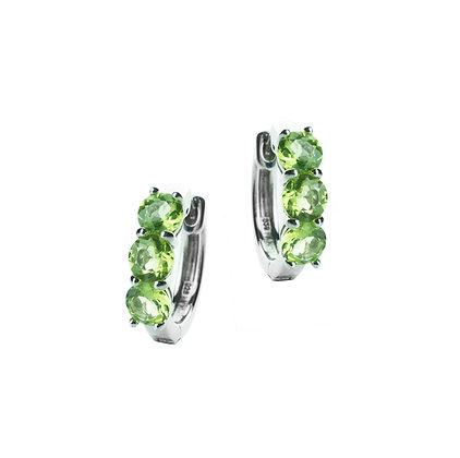 Sterling Silver Peridot Hoop Earrings