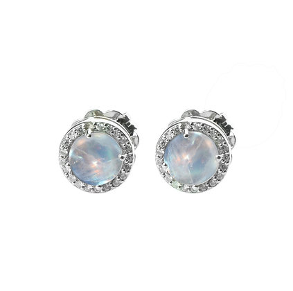 Sterling Silver Rainbow Moonstone with Natural White Zircon Earrings