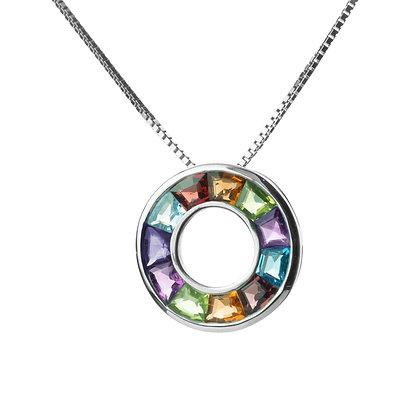Sterling Silver Multicolored Gemstones Pendant - Medium