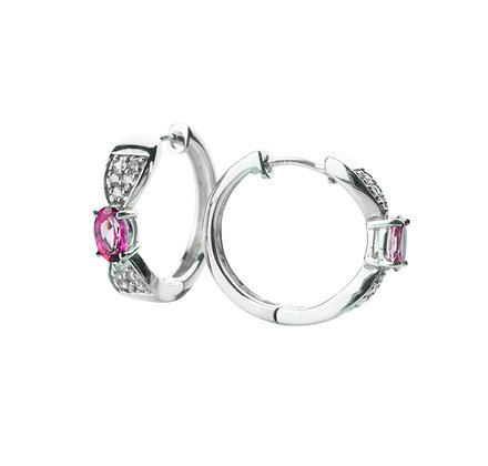 Sterling Silver Pink Topaz Hoop Earrings