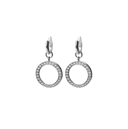 Sterling Silver Detachable Diamond Simulant Earrings