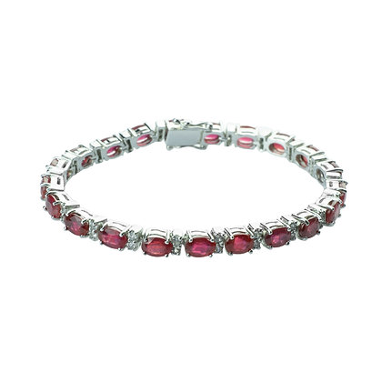 Sterling Silver Ruby with Natural White Zircon Halo Bracelet