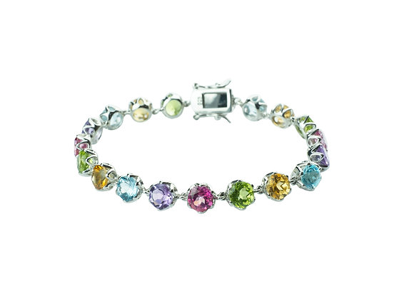 Sterling Silver Multicolored Gemstones Bracelet