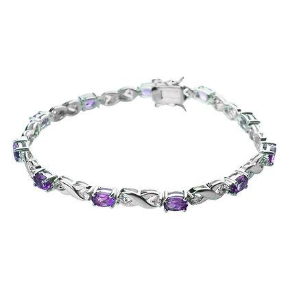 Sterling Silver Amethyst Infinity Bracelet