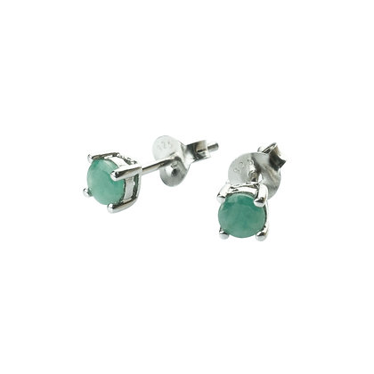 Sterling Silver Round Emerald Earrings- 4 MM