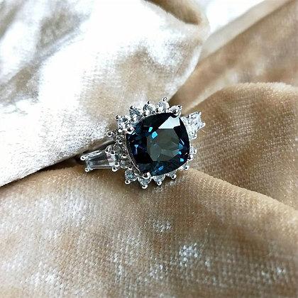 London Blue Topaz Cushion Cut Ring with White Topaz