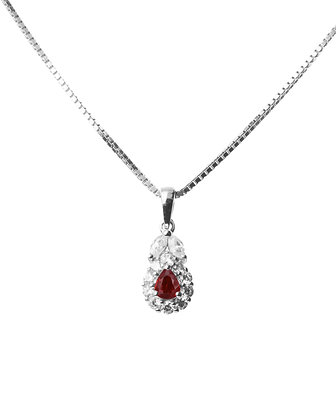 Sterling Silver Natural Ruby and Diamond Simulant Pendant